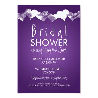 Bridal Shower Grunge Hearts Purple Card