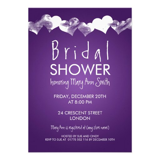 Bridal Shower Grunge Hearts Purple Custom Announcements