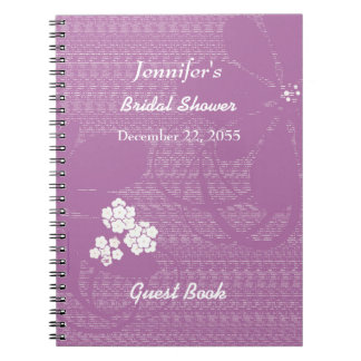 Bridal Shower Guest Book Purple, White Floral Spiral Notebook
