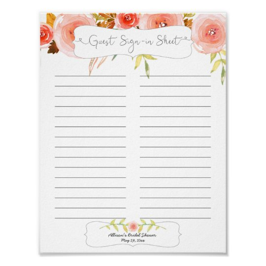 bridal shower guest sign in sheet blush floral