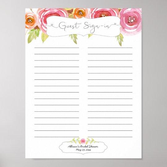 Bridal Shower Guest Sign In Sheet Pink Floral 3605