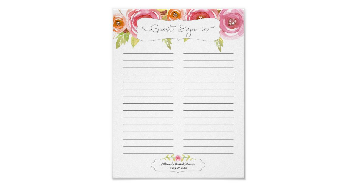 bridal shower guest sign in sheet    pink floral poster
