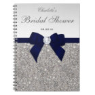 Bridal Shower Guestbook Faux Sequins Navy Bow Notebook
