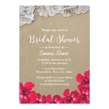 Beach Themed Bridal Shower Hawaiian Beach Waves Hibiscus Floral Card