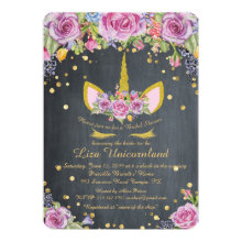 Bridal Shower Honoring, unicorn,blackboard,flowers Invitation