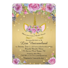 Bridal Shower Honoring, unicorn,metal gold,flowers Invitation