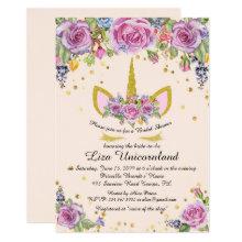 Bridal Shower Honoring, unicorn,pink,flowers Invitation