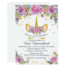 Bridal Shower Honoring, unicorn,white,flowers Invitation