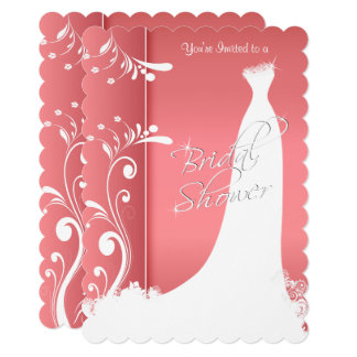 Bridal Shower in a Beautiful Coral Invitation
