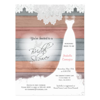 Bridal Shower in a Colorful Beach Wood Design Postcard