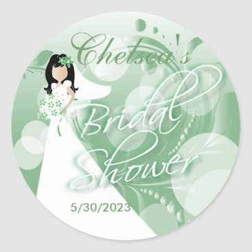 Bride Themed Bridal Shower in a Mint Green and White Classic Round Sticker
