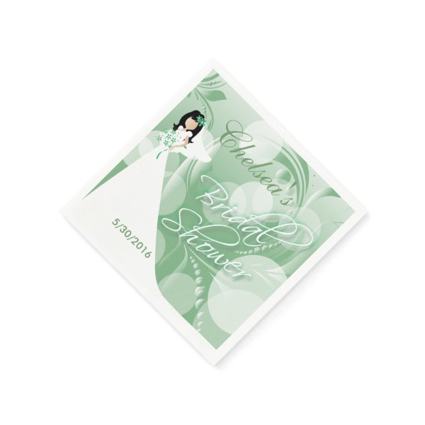 Bridal Shower in a Pretty Mint Green and White Napkin