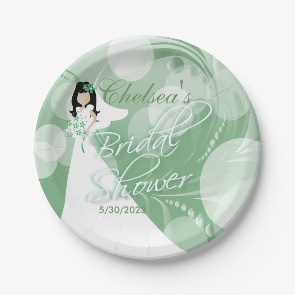 Bridal Shower in a Pretty Mint Green and White Paper Plate