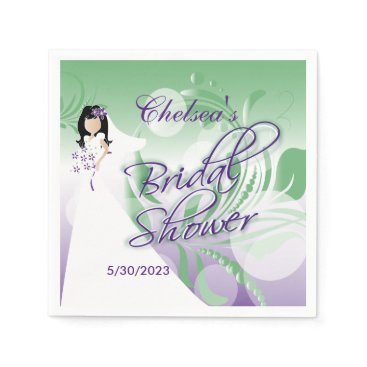 Bride Themed Bridal Shower in a Pretty Mint Green & Purple Paper Napkin