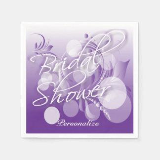 Bridal Shower in a Pretty Purple And White Paper Napkin