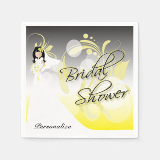 Bridal Shower in a Pretty Yellow and Gray Paper Napkin