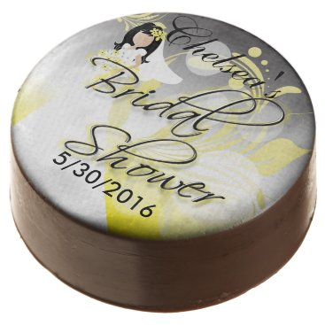 Bride Themed Bridal Shower in a Yellow and Gray Chocolate Covered Oreo