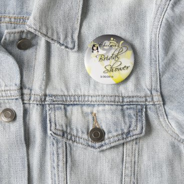 Bride Themed Bridal Shower in a Yellow and Gray Pinback Button