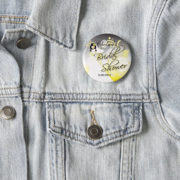 Bridal Shower in a Yellow and Gray Pinback Button