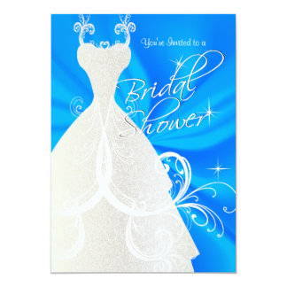 Bridal Shower in Baby Blue Satin Card