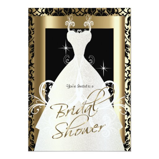 Bridal shower in black damask metallic gold 5x7 paper for Black and gold wedding shower invitations