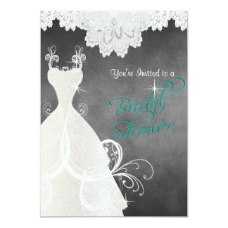 Bridal Shower in Chalkboard and Lace Card