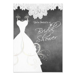 Bridal Shower in Chalkboard & White Lace Card