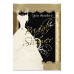 Bridal Shower in Metallic Antique Gold & Lace Card