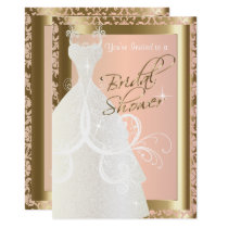 Bridal Shower in Metallic Gold and Pink Rose Invitation