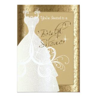 Bridal Shower in Metallic Gold Damask 5x7 Paper Invitation Card