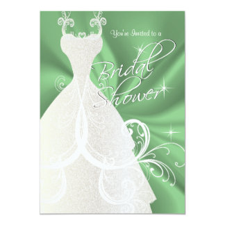 Bridal Shower in Mint Green Satin Card