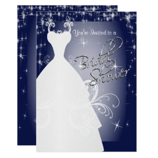 Bridal Shower in Navy Blue Starry Night Card