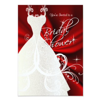 Bridal Shower in Red Silky Satin Card