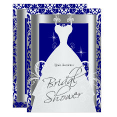 Bridal Shower In Royal Blue Damask And Silver Card at Zazzle