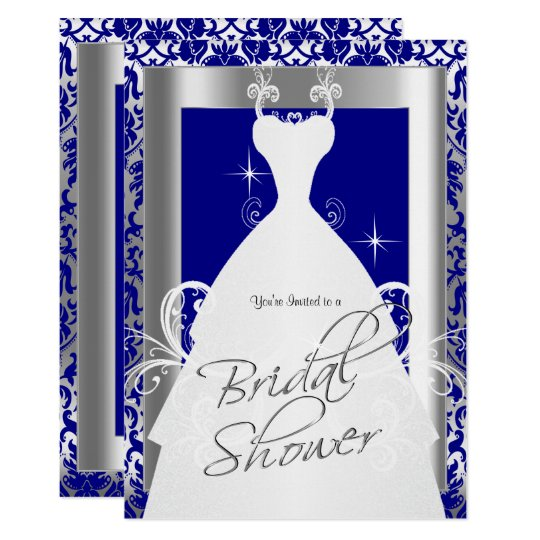 bridal shower in royal blue damask and silver invitation zazzle com