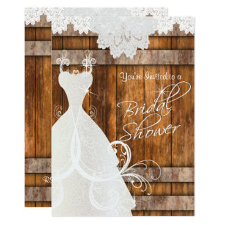Bridal Shower in Rustic Barn Wood and Lace Card