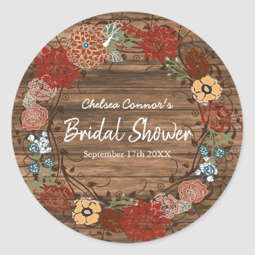 Bride Themed Bridal Shower in Rustic Floral Wreath 2 Classic Round Sticker