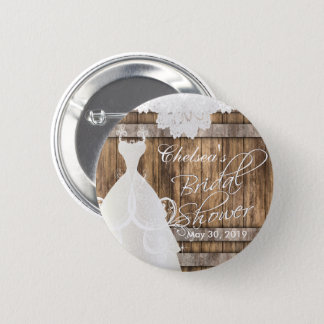 Bridal Shower in Rustic Wood and Lace Button