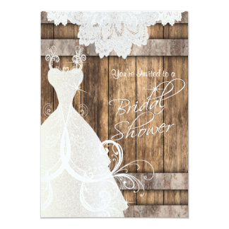 Bridal Shower in Rustic Wood and Lace Card
