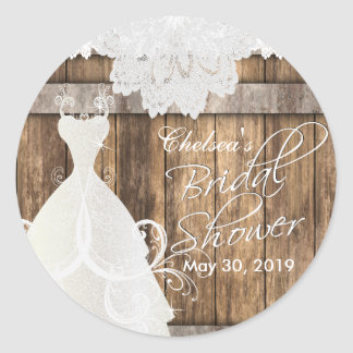 Bridal Shower in Rustic Wood and Lace Classic Round Sticker