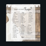 """Bridal Shower in Rustic Wood and Lace Game Notepad<br><div class=""""desc"""">PLEASE READ! Bridal Shower in Rustic Wood and Lace Game Notepad. What&#39;s in your purse? Look for different size notepads (please check THE SIZE (small and regular size) before ordering) Made with high resolution vector and/or digital graphics for a professional print. NOTE: (THIS IS A PRINT. All zazzle product designs...</div>"""