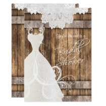 Bridal Shower in Rustic Wood and Lace Invitation