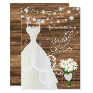 Bridal Shower in Rustic Wood Stringlights Card