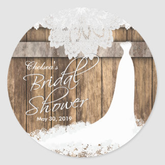 Bridal Shower in Rustic Wood & White Lace Classic Round Sticker