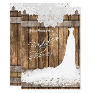 Bridal □ Shower in Rustic Wood & White Lace Invitation