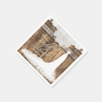 Bridal Shower in Rustic Wood & White Lace Paper Napkin
