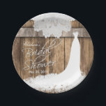 """Bridal Shower in Rustic Wood &amp; White Lace Paper Plate<br><div class=""""desc"""">Popular Bridal Shower Paper Plates. Made with high quality vector and digital art for a professional sharp print. Featuring a beautiful rustic wooden background with white lace top border and a beautiful wedding gown. These bridal shower napkins will be a hit with your party guest. 100% Customizable. Ready to Fill...</div>"""