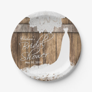 Bridal Shower in Rustic Wood u0026 White Lace Paper Plate & Rustic Plates | Zazzle