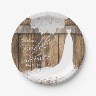 Bridal Shower in Rustic Wood & White Lace Paper Plate