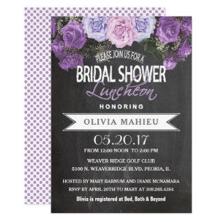 Bridal Shower in Vintage Purple Rose Card
